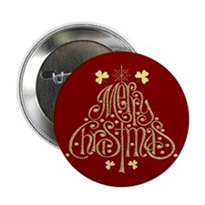 Merry Christmas Tree (Red) Buttons (10 pack)