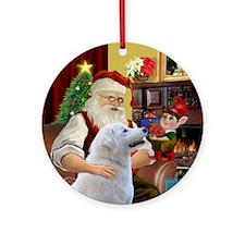 Santa at home with his Kuvasz Ornament (Round)