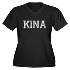KINA, Vintage Women's Plus Size V-Neck Dark T-Shir