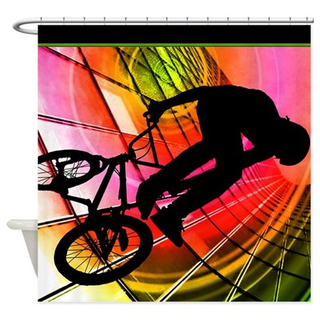 BMX in Lines and Circles.jpg Shower Curtain