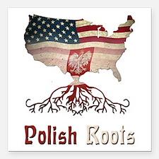 "American Polish Roots Square Car Magnet 3"" x"