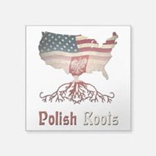 "American Polish Roots Square Sticker 3"" x 3&q"