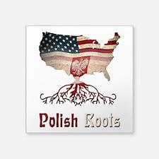 "American Polish Roots Square Sticker 3"" x 3&q"