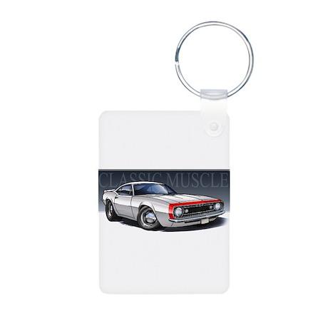 67 White R Aluminum Photo Keychain