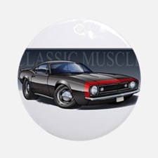 67 Black Camaro R Ornament (Round)