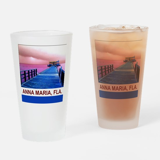 Pink and blue Rod & Reel Pier Drinking Glass