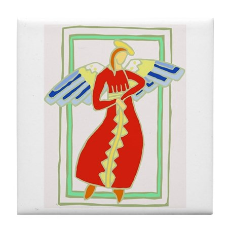 Angel in Red Tile Coaster