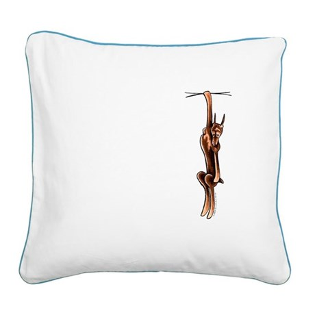 Clingy Red Dobe Square Canvas Pillow
