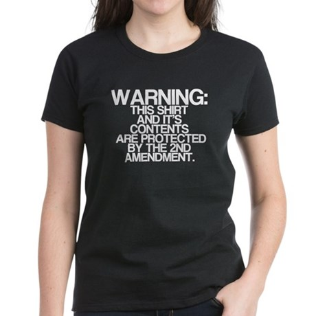 Warning, Protected By 2nd Amendment Women's Dark T