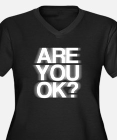 Are You OK? Funny, fuzzy Women's Plus Size V-Neck