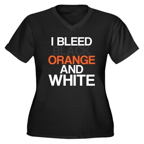 I Bleed Black and Orange Women's Plus Size V-Neck