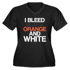 I Bleed Black and Orange Women's Plus Size V-Neck