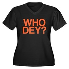 WHO DEY? Women's Plus Size V-Neck Dark T-Shirt