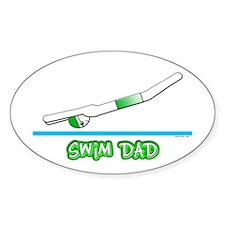 Swim Dad (boy) green suit Oval Decal