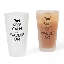 Keep Calm and Waddle On Drinking Glass