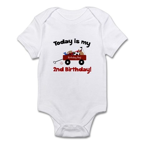 Little Red Wagon 2nd Birthday Infant Bodysuit