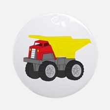 Yellow and Red Dump Truck Construction Vehicle Orn