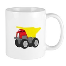 Yellow and Red Dump Truck Construction Vehicle Mug
