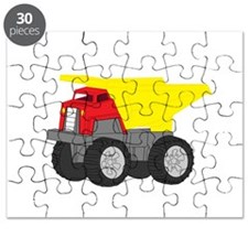 Yellow and Red Dump Truck Construction Vehicle Puz