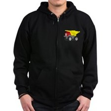 Yellow and Red Dump Truck Construction Vehicle Zip Hoodie