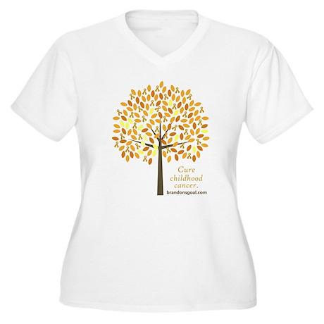 Gold Ribbon Tree Women's Plus Size V-Neck T-Shirt