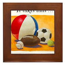 Stay-at-home dad: balls Framed Tile