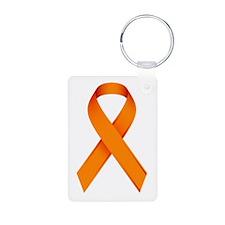 Orange Ribbon Aluminum Photo Keychain