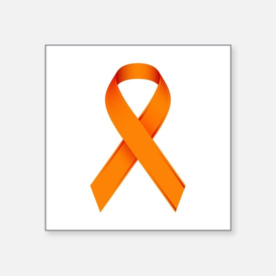 "Orange Ribbon Square Sticker 3"" x 3"""
