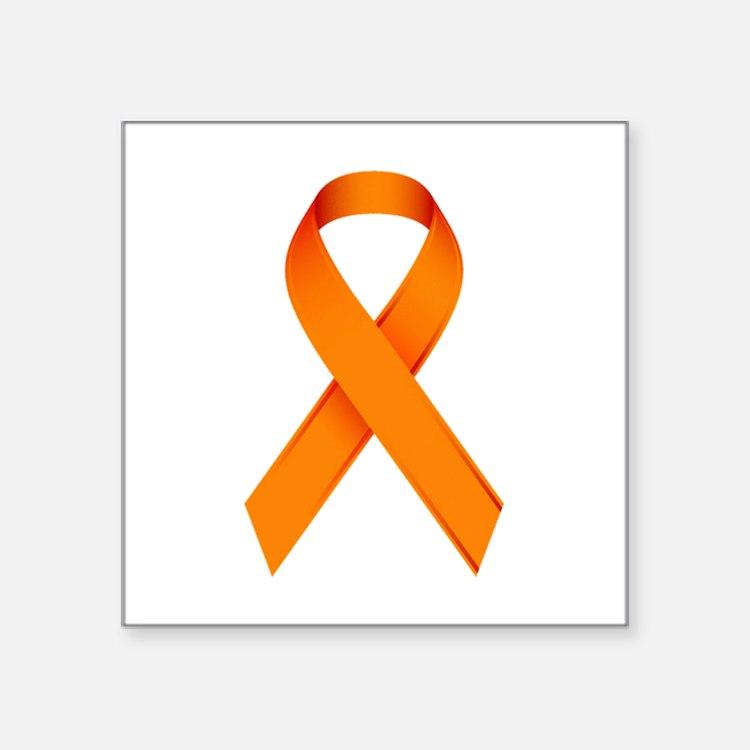 "Orange Ribbon Square Sticker 3"" x 3"""
