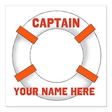 """custom Captain Square Car Magnet 3"""" x 3"""""""