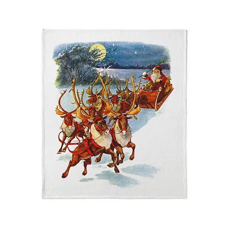 Santa & His Flying Reindeer Throw Blanket