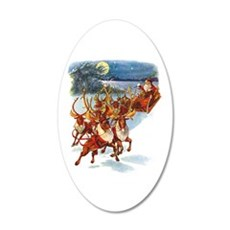 Santa & His Flying Reindeer 20x12 Oval Wall Decal
