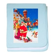 Santa & Mrs. Claus at the North Pole baby blanket