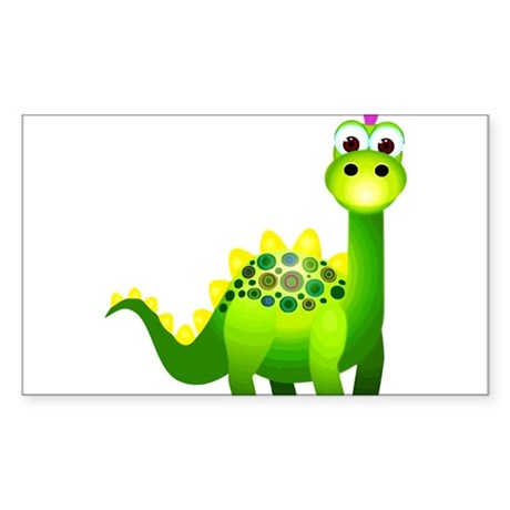 Green Punk Dinosaur Sticker (Rectangle)