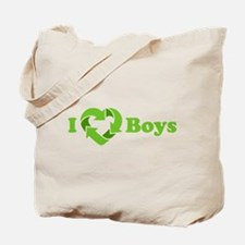I love Boys - Recycle Heart Tote Bag