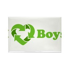 I love Boys - Recycle Heart Rectangle Magnet