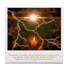 Buddha Candle Quote Tile Coaster