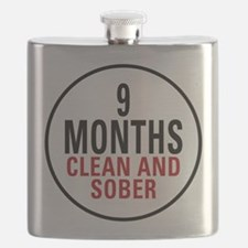 9 Months Clean and Sober Flask