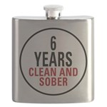 6 Years Clean & Sober Flask