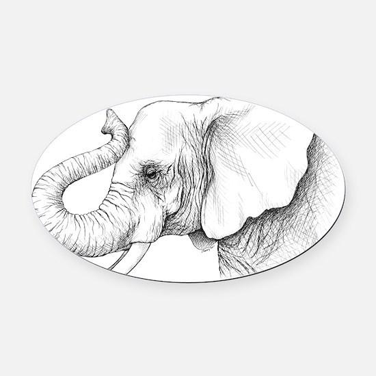 elephant pi.png Oval Car Magnet