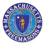 Massachusetts Masons Round Car Magnet