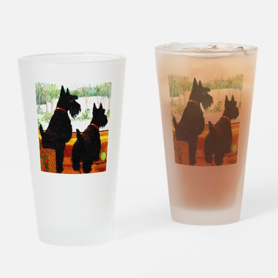 A Scottie Christmas Drinking Glass
