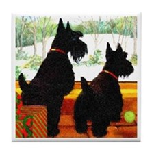 A Scottie Christmas Tile Coaster