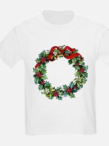 Holly Christmas Wreath T-Shirt