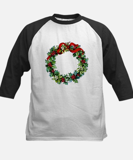 Holly Christmas Wreath Kids Baseball Jersey