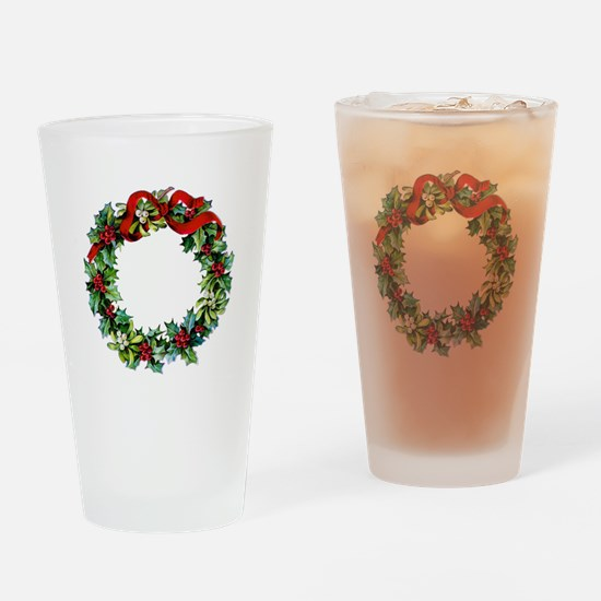 Holly Christmas Wreath Drinking Glass
