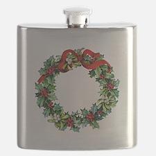 Holly Christmas Wreath Flask