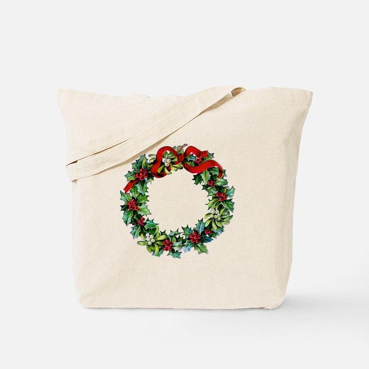 Holly Christmas Wreath Tote Bag