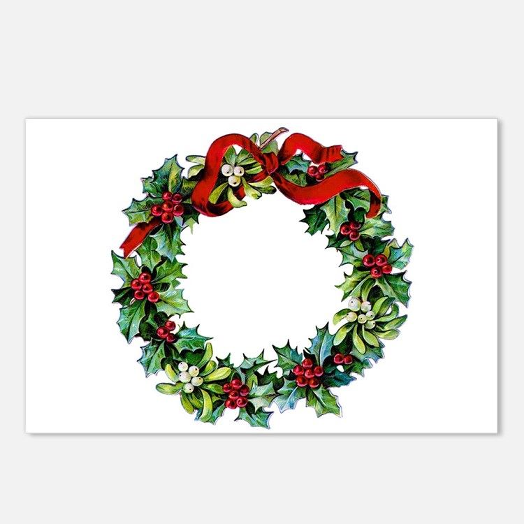 Holly Christmas Wreath Postcards (Package of 8)