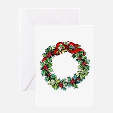 Holly Christmas Wreath Greeting Card